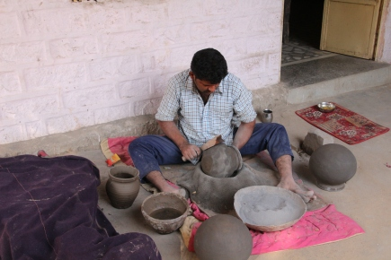Making the water jugs by hand
